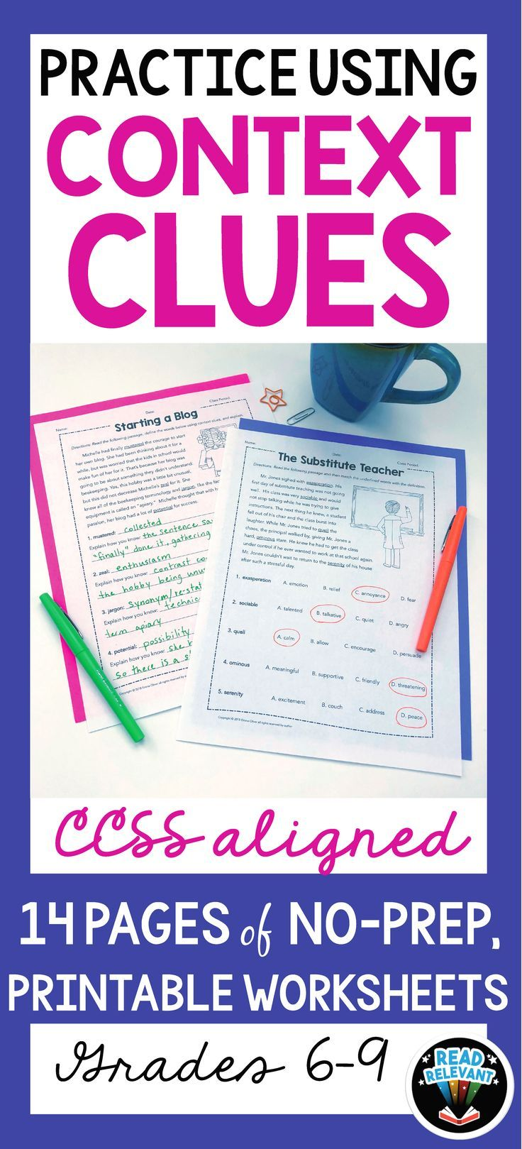 Vocabulary Practice Using Context Clues Worksheets