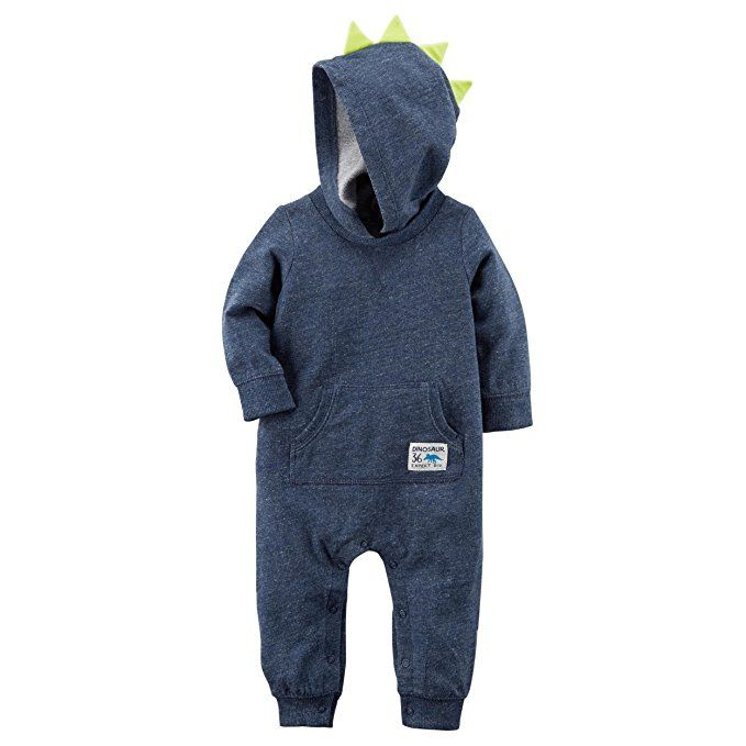 12 Months Carter/'s Baby Boys/' Stripe Hooded Jumpsuit Spiked Dinosaur