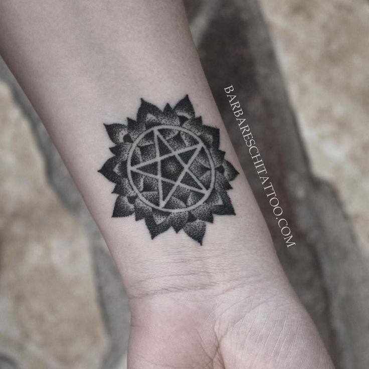 Handpoked pentagram tattoo    by Enzo barbareschi  @enzotat2london •