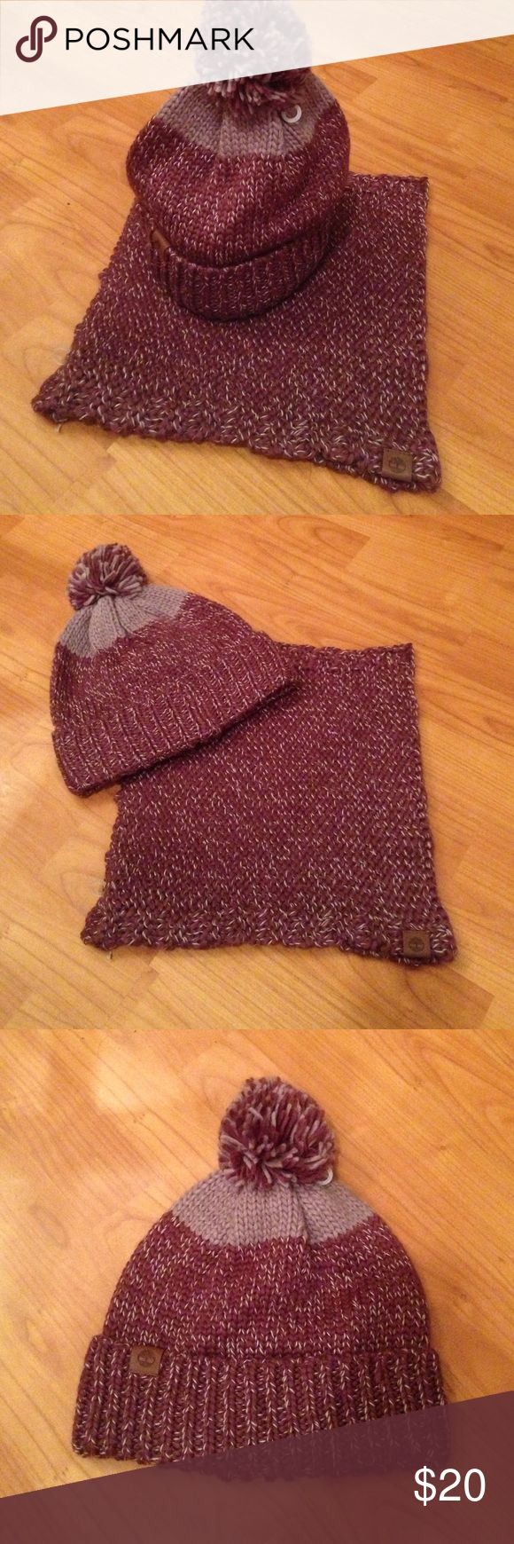 Timberland Hat and neck warmer set A two toned purple knit hat with matching neck warmer Timberland Accessories Scarves & Wraps