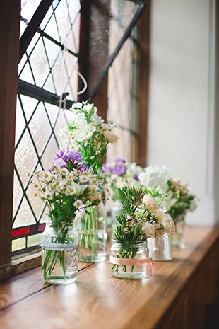 pretty spring florals in jars as church decor | onefabday.com