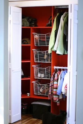 small closet idea and diy.love the wire baskets.thinking if adding a tall skinny shelf in my walk in closet and the wire baskets would help organize more ... & 12 best Cabin closet images on Pinterest | Home ideas Armoire ...