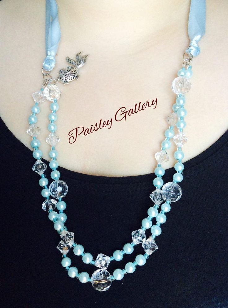 Sea Necklace, Handmade necklace, Beaded necklace, beads & Ribbon, Hang Decoration, Steal hang decoration, Fish Decoration, Well designed by PaisleyGI on Etsy