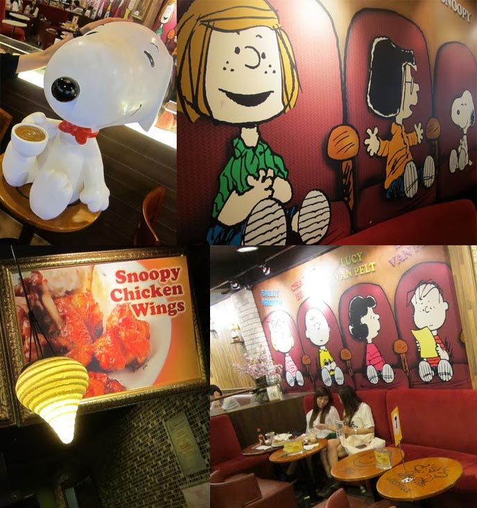 Inside the Charlie Brown Cafe in Hong Kong