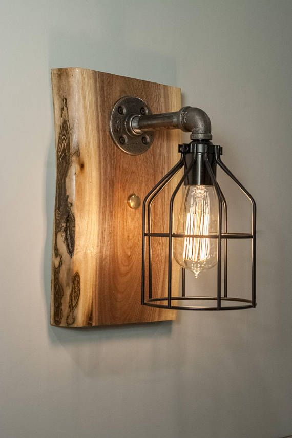 Bathroom Wall Sconce Wood Edison Light Fixture Featuring Live