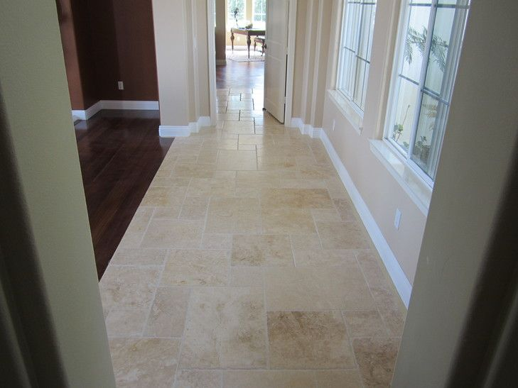 Brushed Amp Chiseled Edge Ivory Travertine Tile Flooring