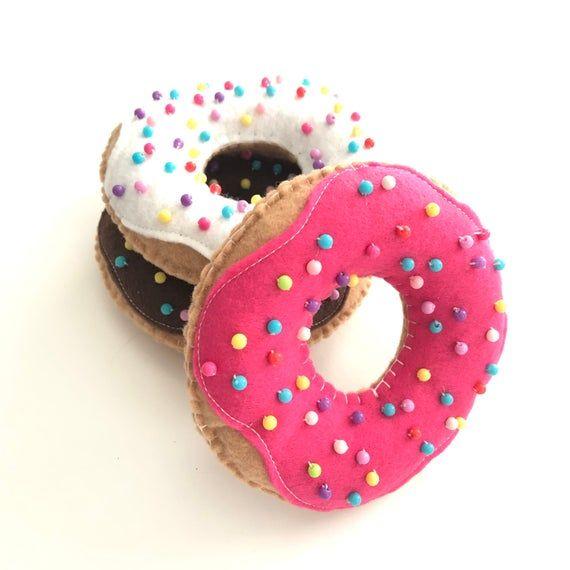 Donuts Felt Donuts Ornaments Set Of 3 Chocolate Image 1 Felt Donut Ornament Donut Ornament Candy Theme Decorations