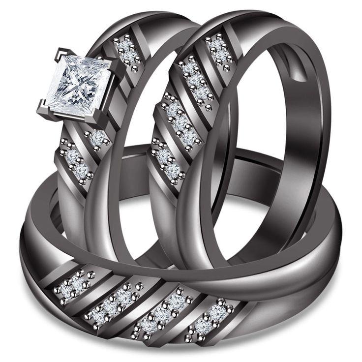 Unique Princess Cut Sim Diamond Kt Black Gp Silver Pcs Trio Engagement Ring Sets