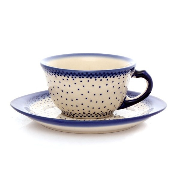 CUP E WITH SAUCER    Unique product, entirely hand-made. Stoneware ceramics, natural paints. Products are approved for contact with food. Suitable to use in an oven, microwave ovens and dishwashers. Due to hand-made technique of manufacturing, there may be slight differences in the shape of a pot and the ornamental pat...