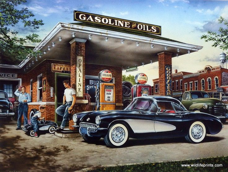 Dan Hatala's print is a nostalgic scene from the days of full service gas stations. The two guys are admiring each other's Corvettes, although one is just a pedal car. This classic car Corvette art pr