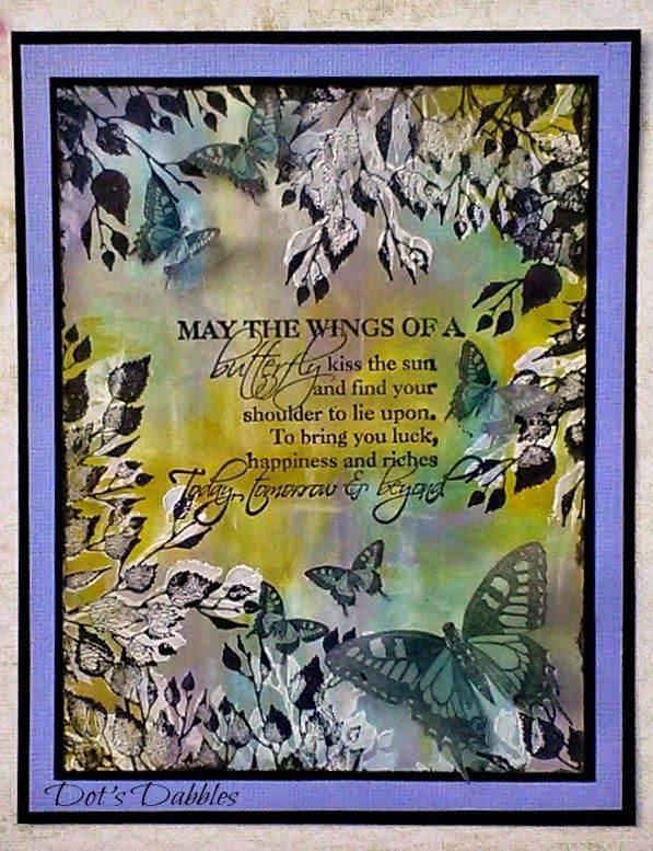 Loads of distress paints for the background on this card...and my favourite leaves and butterflies offset a gorgeous sentiment.  I hope you feel the peace from it.