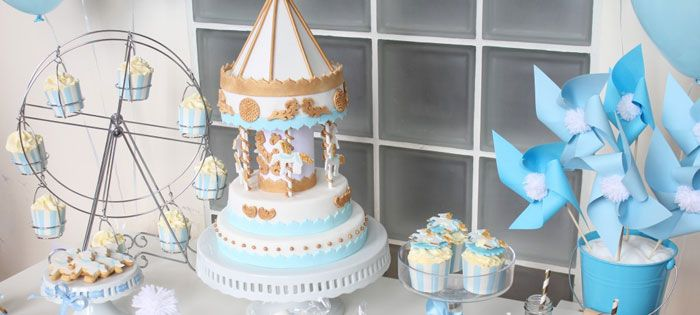 Carousel Themed 1st Birthday Party Dessert Table Birthday Party Kids Blue Boy Gold