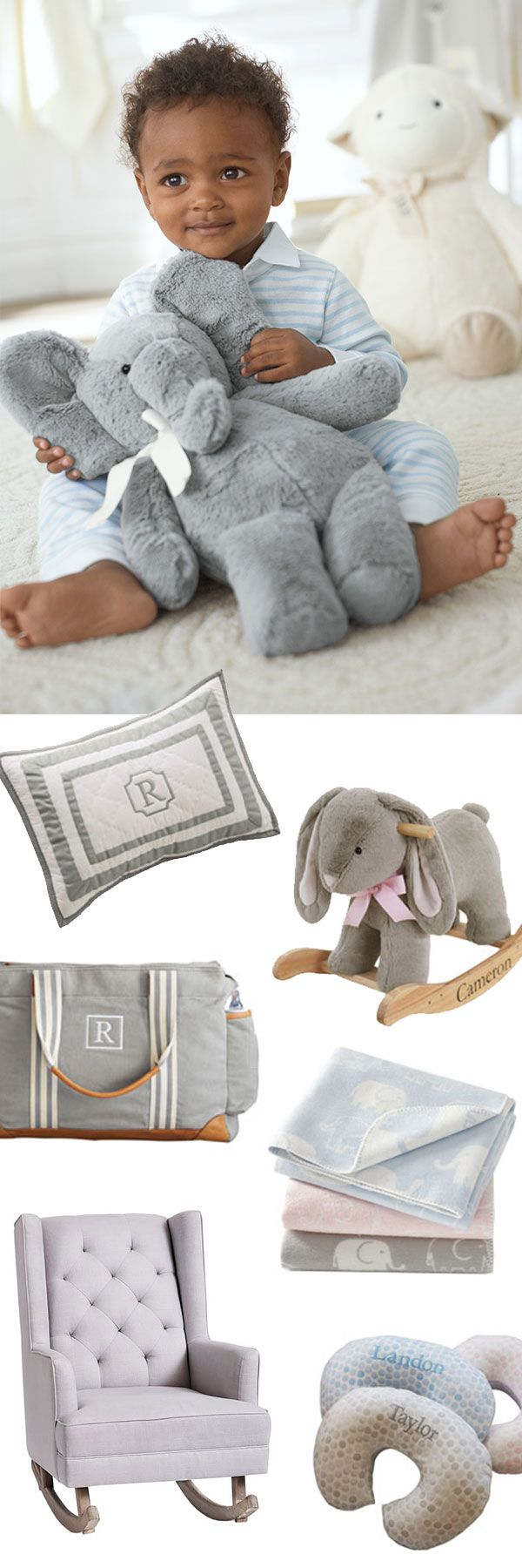 Not sure what to put on your registry? Make sure to include essentials like soft baby blankets (you'll never have too many!), a diaper bag with plenty of pockets and a Boppy Pillow for easy feedings. A bigger item like a rocker or glider for the nursery is also great to include.