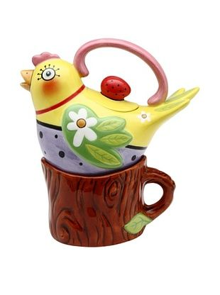 47% OFF Appletree Design Flight of Fancy by Babs 2-Piece Ceramic Tea for One Set, Yellow