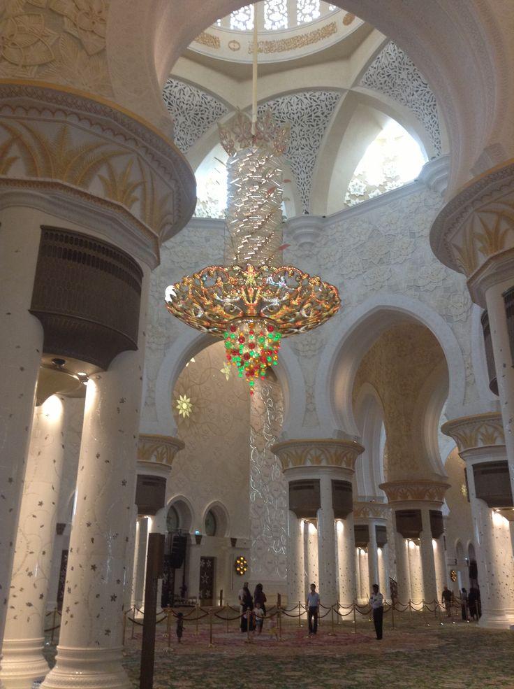 Interior of the Sheikh Zayed Grand Mosque in Abu Dhabi, UAE
