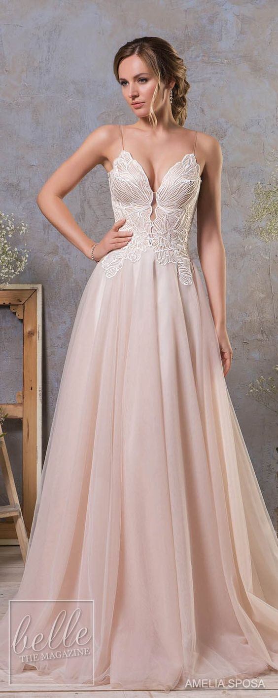 Romantic Sling Wedding dresses with Pink color,soft and gentle. Every girl has a pink dress dream, it is so fantastic if you realize your dream in your big day! Wish you have a happy pink bubble wedding ceremony and get inspired from the following gallery.