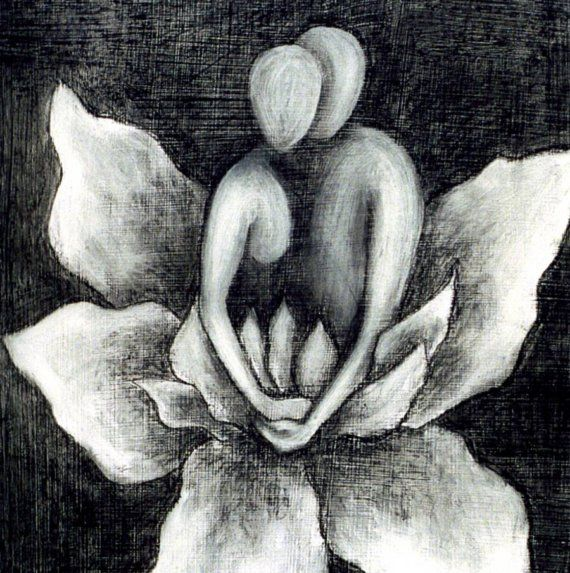 PRINT Lovers, Lotus Blossom, black and white art print, soulmates art, lotus blossom, lily, spiritual art, zen painting via Etsy