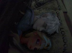 Photo of Jack and Elsa sleeping for fans of Elsa & Jack Frost.