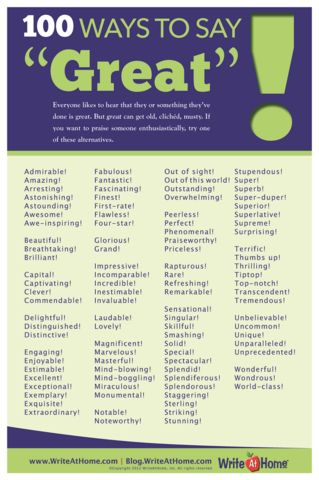 """100 Ways to Say """"Great!"""" Poster – WriteAtHome Posters"""