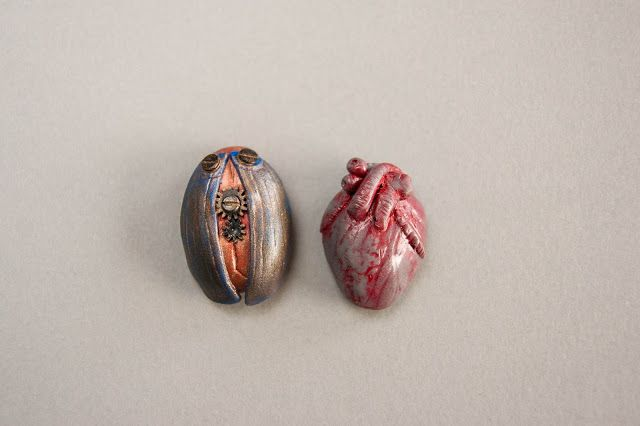 polymer clay anatomical stone heart and steampunk bettle