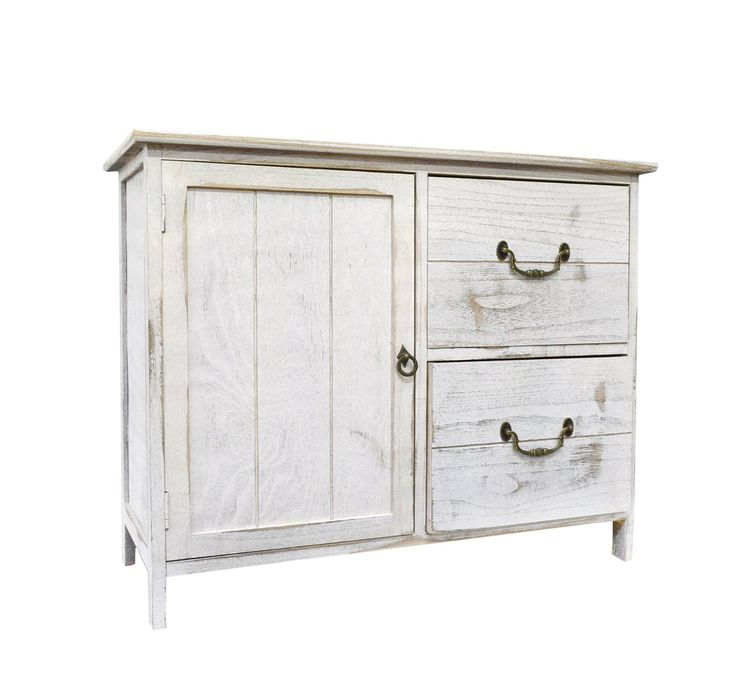 meuble commode style shabby chic blanc peinture avec 2 tiroirs et 1 portes style r tro cod 0. Black Bedroom Furniture Sets. Home Design Ideas
