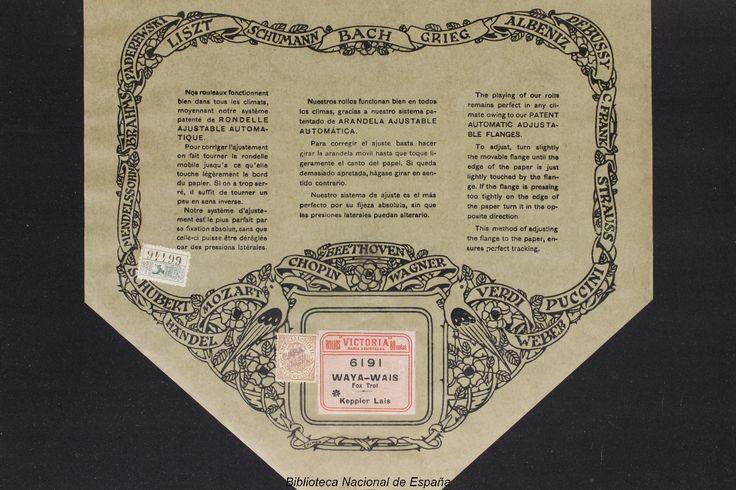Waya-wais [Grabación sonora] : fox-trot / Keppler Lais. --      Madrid : Rollos Victoria, [entre 1921 y 1929]          1 rollo de pianola : 88 notas ; 32 cm