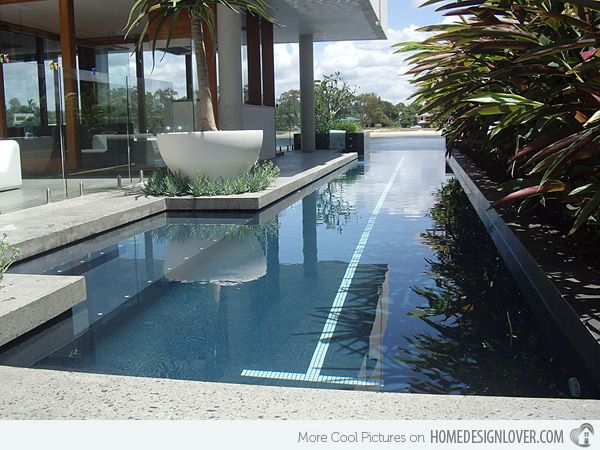 some articles note that a narrow pool creates a lot of waves when swimming, but think that is with skimmers (like ours at apt), but if we had a overflow design or one like this it would not be an issue. depends on cost tradeoff. 15 Fascinating Lap Pool Designs | Home Design Lover