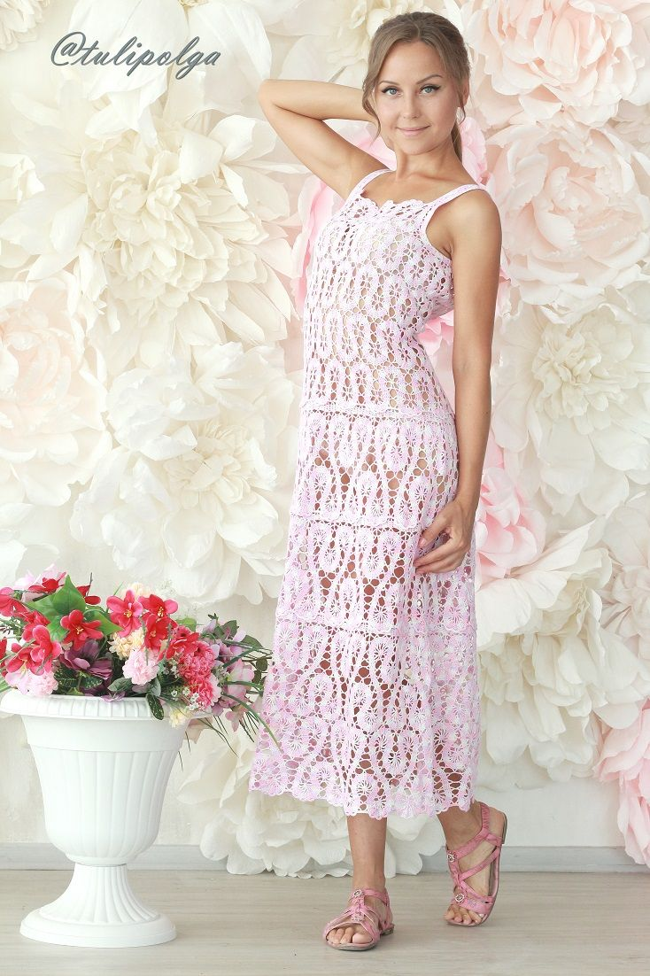 bf851c37dd0 Сарафан длинный вязаный крючком кружевной   Crochet dress    tulipolga   dress  платья  вязаниекрючком