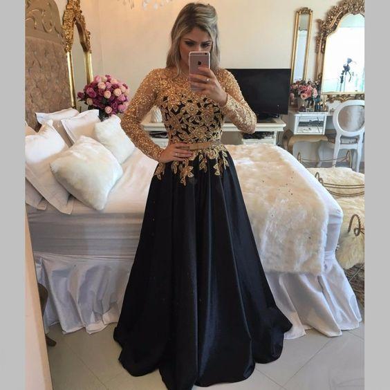 Long Sleeve Black Prom Dresses With Gold Sequins,A Line Black Satin Pageant Prom Dresses, Jewel Neck Black Gala Dresses Plus Size 2017