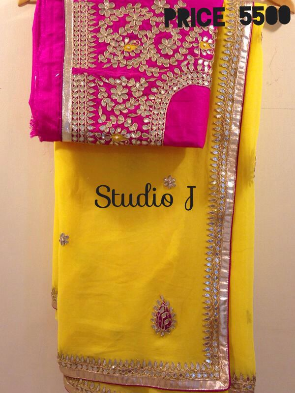 Heavy blouse gota work saree