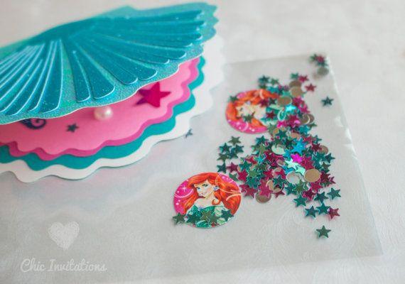 Mermaid Invitations Shell Little Mermaid Handmade Invitation Mermaid Invitations, Seashell (set of 15)