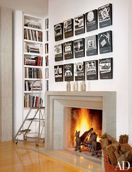 """Designer Karin Blake created """"a gallery-like atmosphere"""" for this Los Angeles home, which features Jane Hammond's Forests of Fire III (2001) above the living room fireplace."""