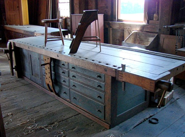 """The woodshop (set up in the Tannery):   And two giant workbenches, one of which is """"the"""" workbench, the one featured in """"The Workbench Book..."""
