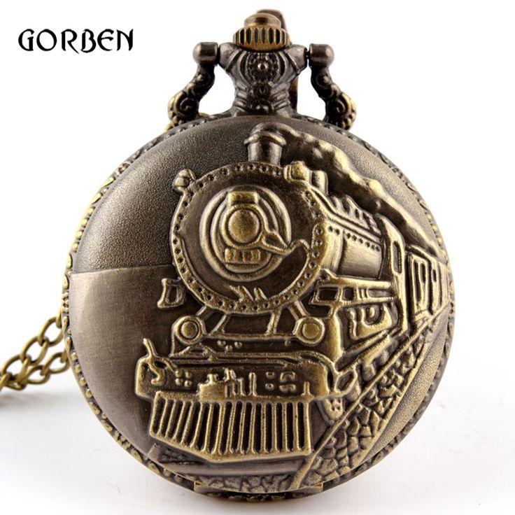 Fashion Antique Train Front Pocket watch Locomotive Engine Retro Quartz Pocket Watch Necklace Chain Men Gifts relogio de bolso