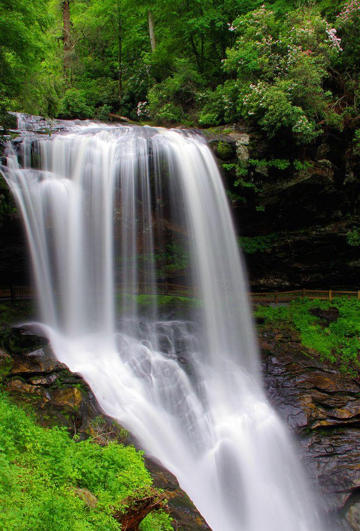 Walk behind Dry Falls near Highlands NC, waterfall in Nantahala National Forest