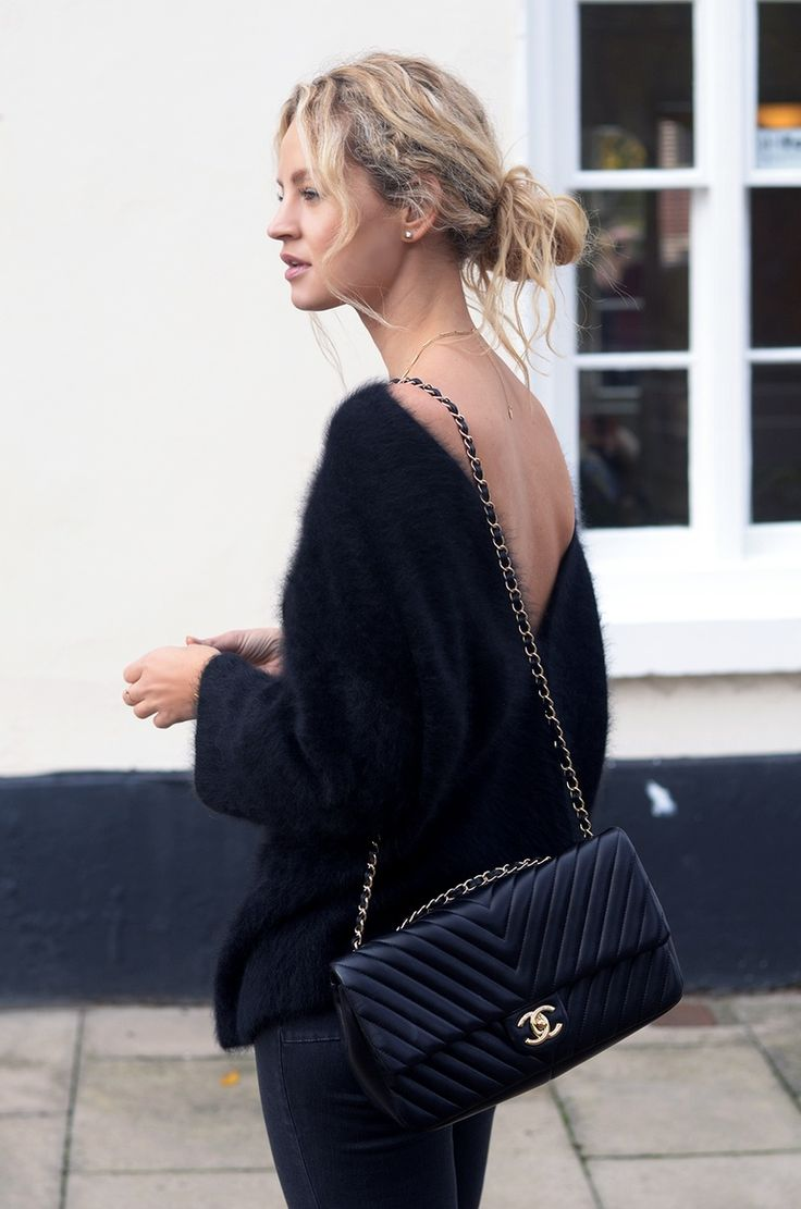 All Black Outfit. Black Fuzzy Sweater. Black Black Chanel Cross Body Bag. Pinterest: pearlxoxoxo