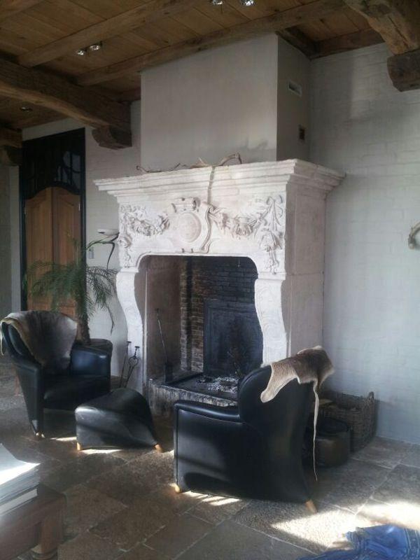 Large antique castle fireplace