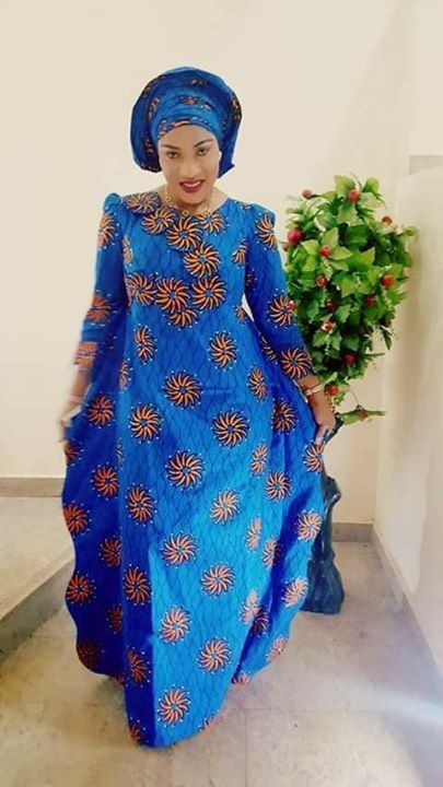 blue ankara maxi dress