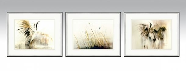 Gold Series in a silver frame and light double passe-partout (Option1).