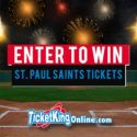 Win Front Row Saints Tickets and $100!  Enter for your chance to win 4 amazing tickets to the St Paul Saints vs Gary SouthShore Railcats on Friday May 19th, FRONT ROW right by home plate. Plus, this is a Friday night Fireworks night AND $100 for the winner to use for whatever you want at the game (food, drink, parking, etc.).  Click here to enter