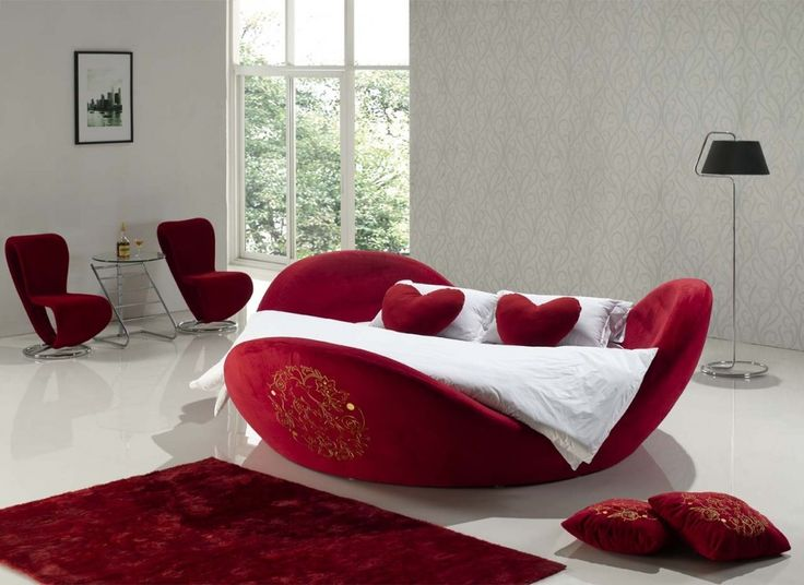 Bedroom, Red Round Platform: Extra Comfort Of Round Platform Bed Applications