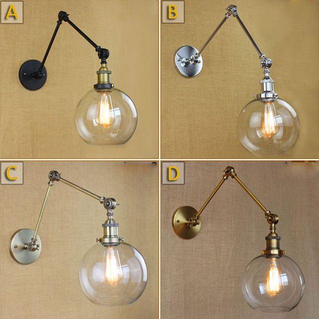 Retro Dos Brazo Oscilante Lámpara De Pared Cortina De Cristal Apliques de Pared, Soporte De Pared Basculante Lámparas de Las Bombillas de Edison