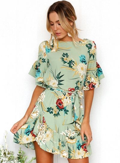 c7eb3122f5e3 Round Neck Flounce Sleeve Floral Printed Dress AZBRO.com   Wardrobe in 2019    Mini dress with sleeves, Fashion, Dresses