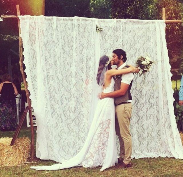 love the lace drape as a photo backdrop--Bohemian Wedding