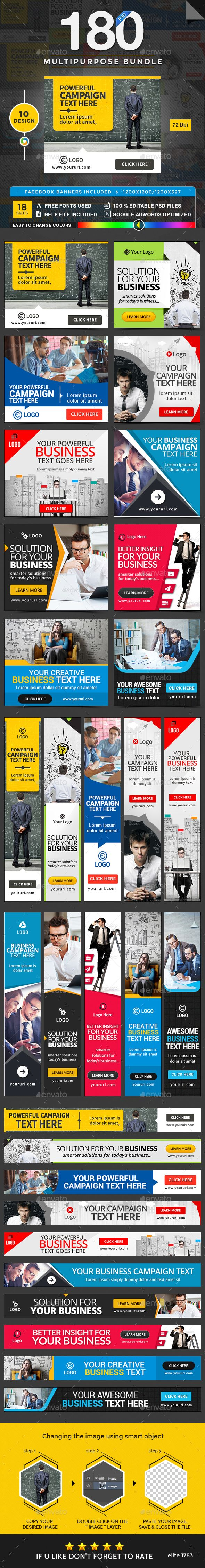 Multipurpose Banners Design Template Bundle 10 Sets - 180 Banners - Banners & Ads Web Element Template PSD. Download here: https://graphicriver.net/item/multipurpose-banners-bundle-10-sets-180-banners/17728345?s_rank=26&ref=yinkira