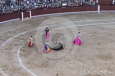 Bull fight at Madrid`s Plaza de Toros. Madrid , Spain , Europe.