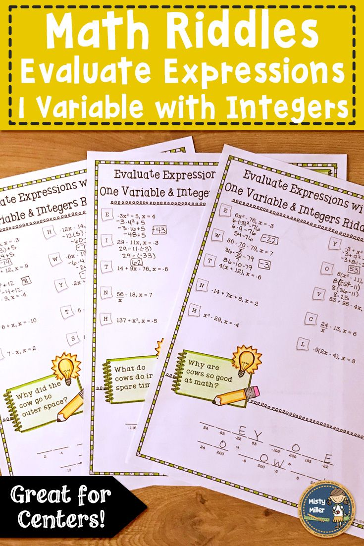 Students can practice evaluating expressions with one variable - includes  integers - in this math packet…   Maths activities middle school [ 1102 x 735 Pixel ]