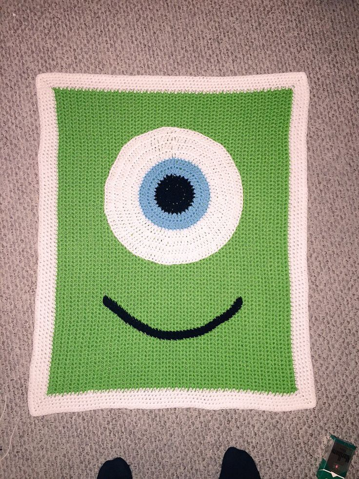 #MonstersInc #Crochet #BabyBlanket Monster Inc crocheted baby blanket