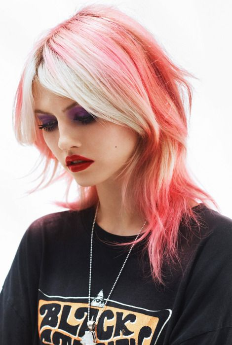 .: Charlotte Free, Platinum Blonde, Blondes Hair, Cotton Candy, Hair Colors, Pink Hair, Pinkhair, Pale Pink, Red Lips