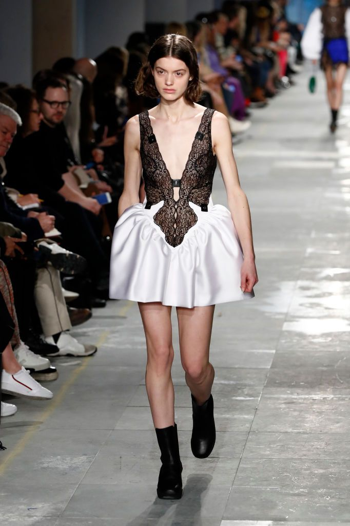 A model walks the runway at the Christopher Kane show during